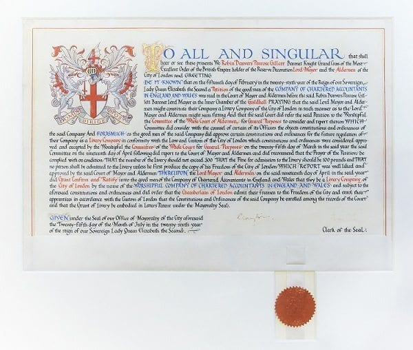 The Letters Patent for the Grant of Livery
